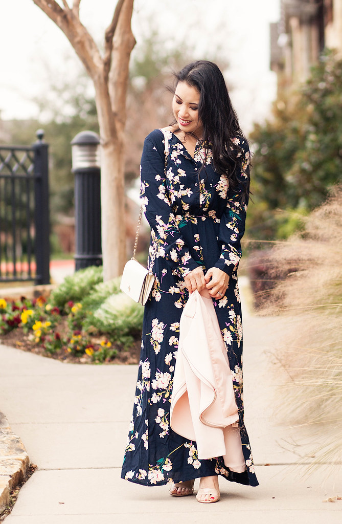 cute & little blog | petite fashion | pink moto jacket, floral maxi, strappy sandals, chloe drew crossody | fall winter dressy outfit