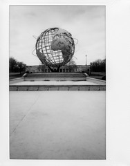 View Of Unisphere And Queens Museum From Other Fountains - Black And White Version; Corona, New York