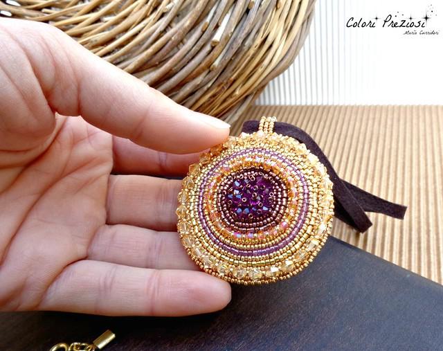 Bead embroidery pendant - CORBULA