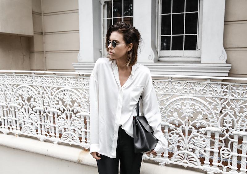 monochrome minimal street style inspo fashion blogger Haider Ackermann silk shirt flare pant mansur gavriel bag black white modern legacy outfit (6 of 6)