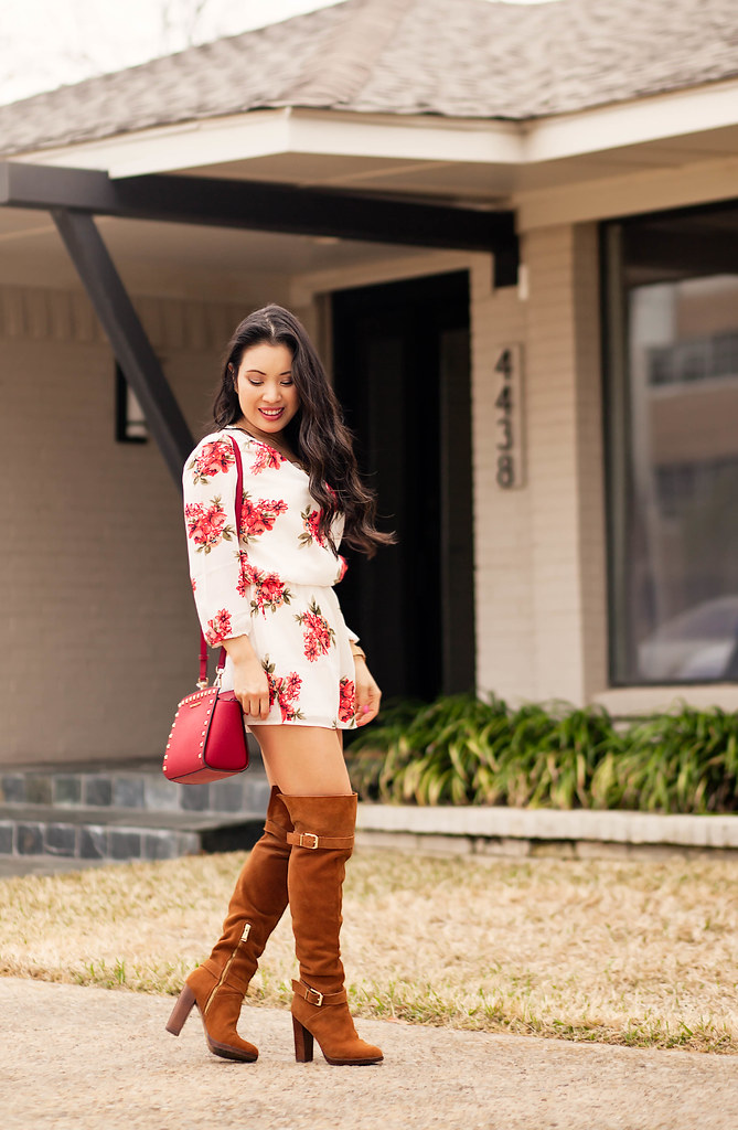 cute & little blog | white red roses floral romper, suede over the knee otk boots, kors selma studded crossbody bag | spring outfit