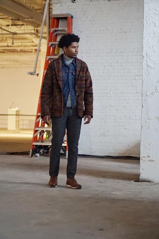 Menswear - Grey Turtle Neck, Denim Jean Jacket, Aztec Cardigan, Wool Trousers, Beyene Sneakers, Style Society Guy