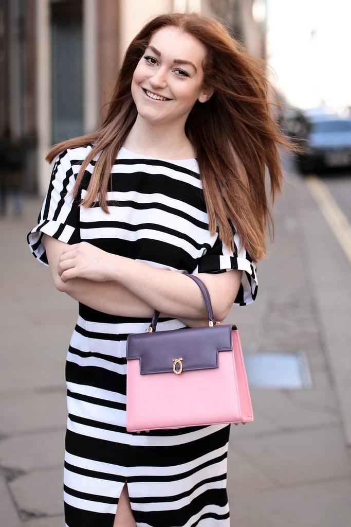 Asos black and white stripe work dress (4)