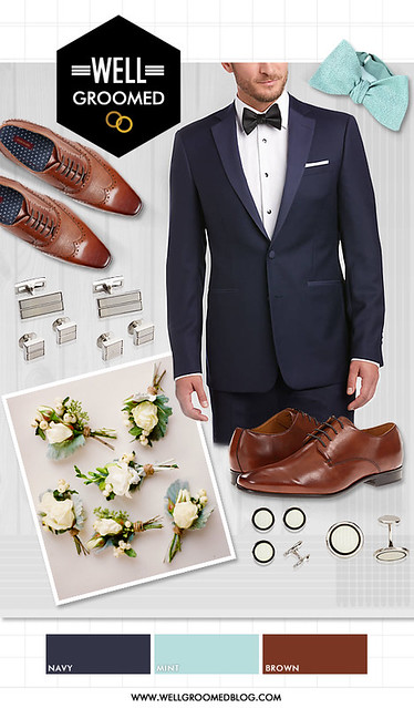 Wel-Groomed Q&A Navy Tux Brown Shoes collage