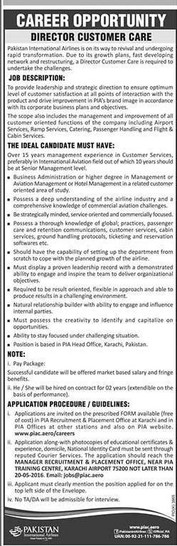 Director Customer Care Job Pakistan International Airline PIA Job 2016