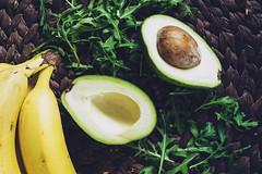 Avocado, bananas and arugula