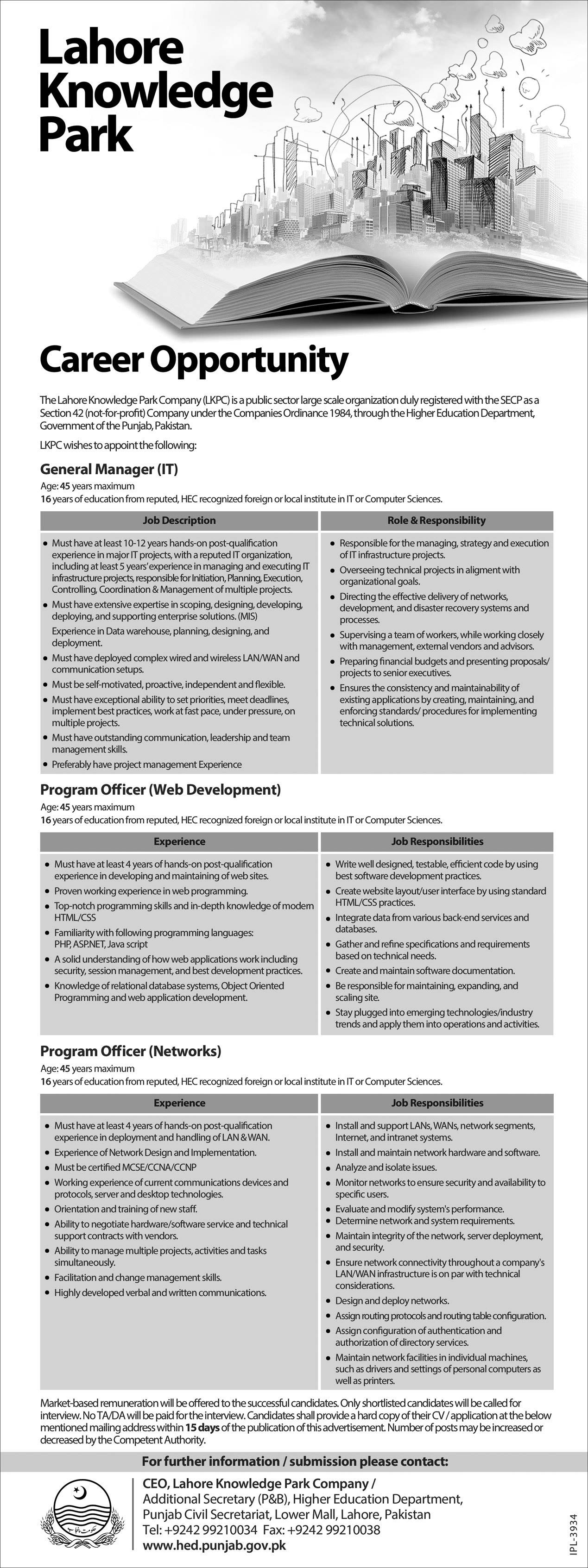Lahore Knowledge Park Jobs