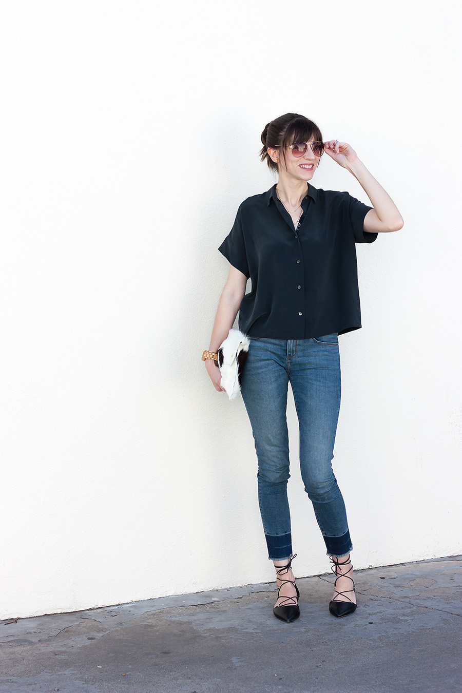 Everlane Square Silk Shirt, Black Lace Up Flats