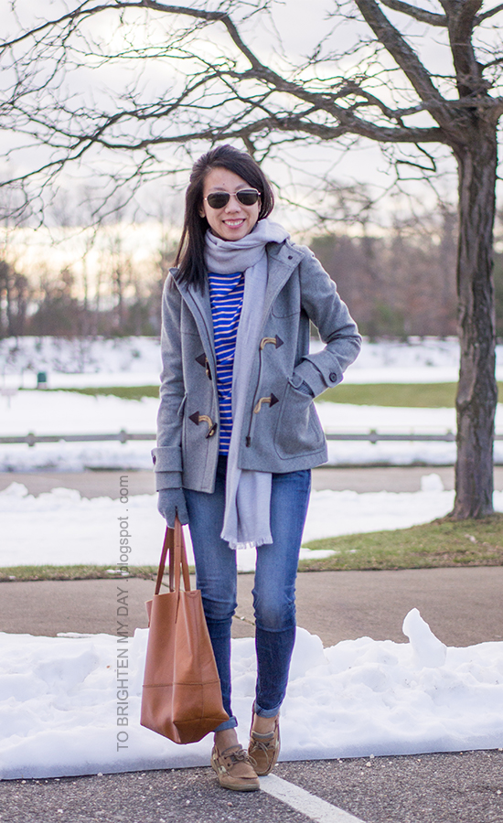 gray scarf, gray toggle coat, blue striped top, skinny jeans, boat shoes, cognac brown tote