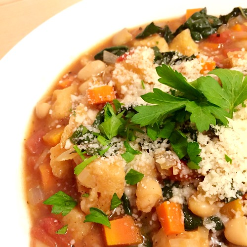 Wednesday night dinner at home - cooking & listening to Italian hip hop. Tuscan Ribollita Soup #blueapron