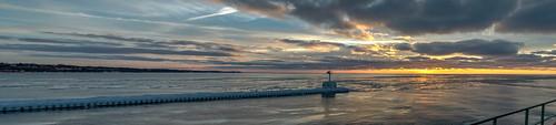 winter sunset sky panorama lighthouse cold reflection ice clouds reflections geotagged evening frozen nikon unitedstates michigan pano stjoseph lakemichigan hdr saintjoseph oudoors stjosephlighthouse nikond5300