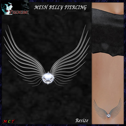 [$55L OFFER!] *P* MESH Angel Belly Piercing ~Silver~