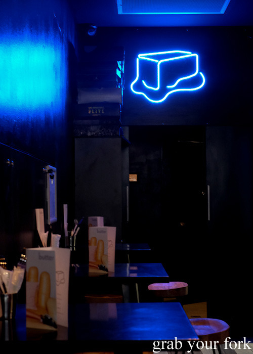 Blue neon butter sign at Butter, Surry Hills, Sydney