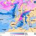 Předpovědní synoptická mapa pro 29. 2. (růžová barva značí sněžení, modrá déšť) z 24. 2., foto: Wetteronline.de