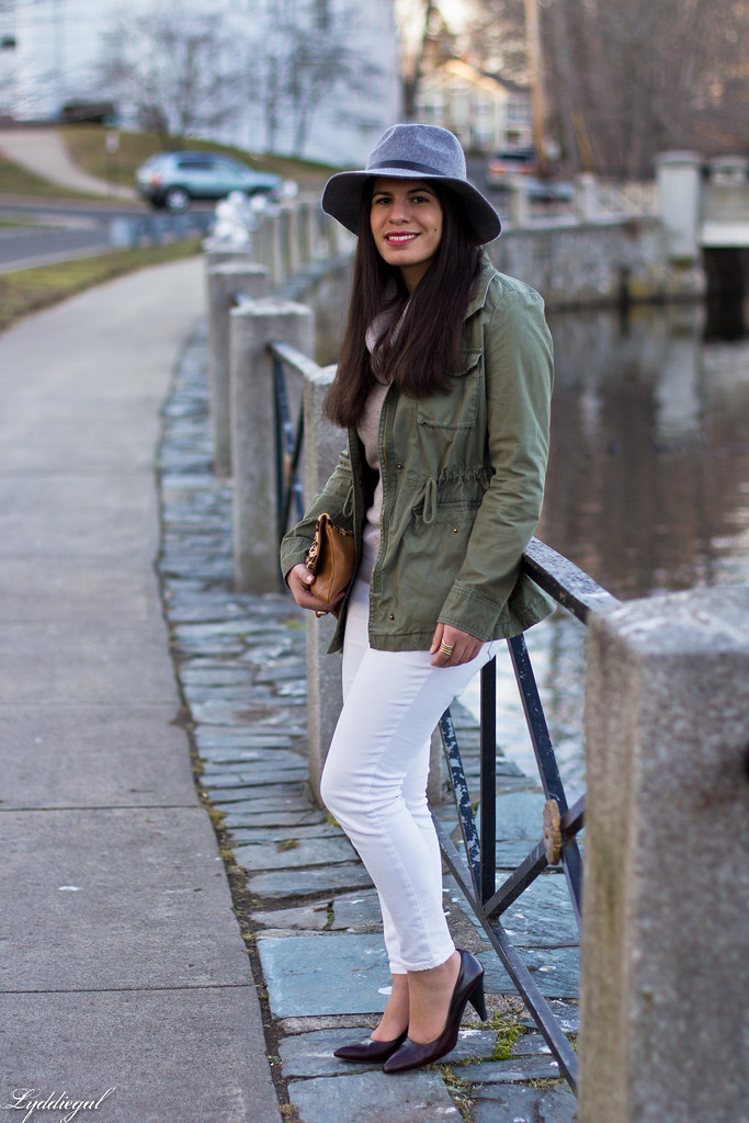 camel sweater, white jeans, field jacket, grey fedora-9.jpg