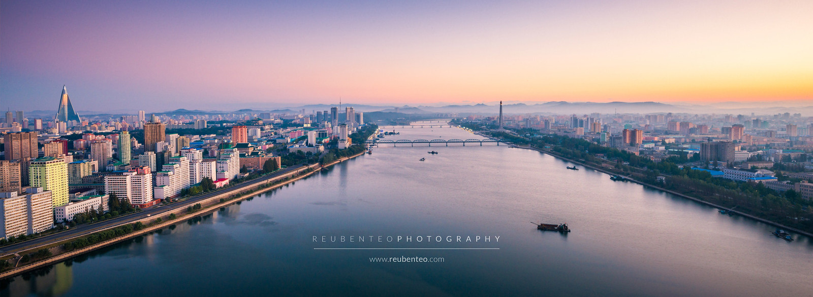 Sunrise view of Pyongyang City