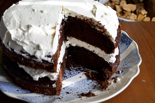 Chocolate Cake with Almond Roux Icing