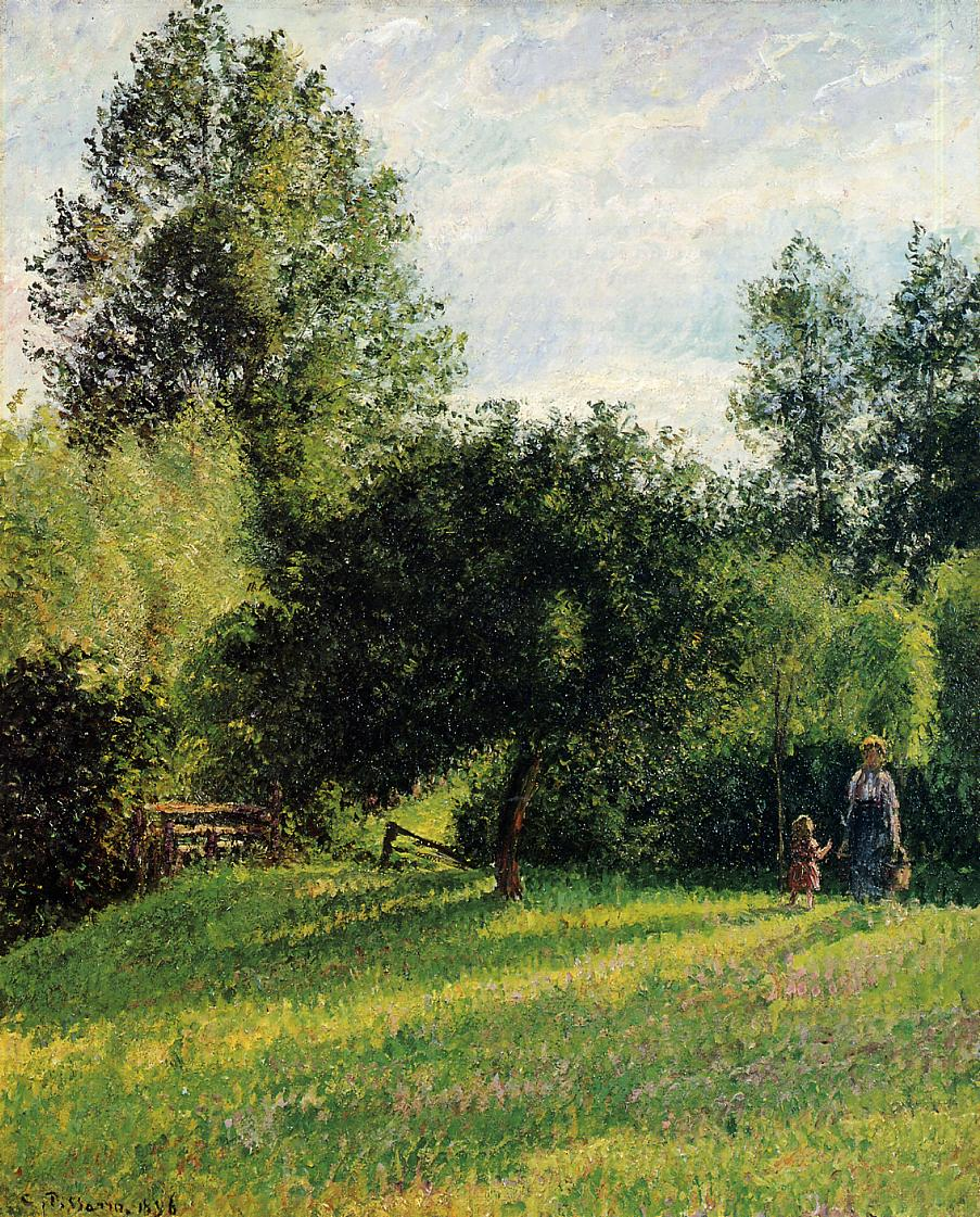 Apple Trees, Sunset, Eragny by Camille Pissarro, 1896