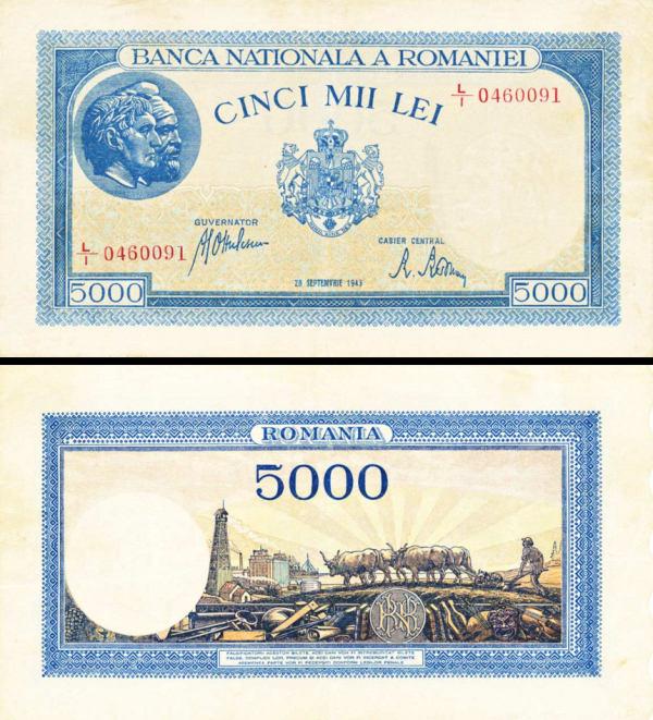 5000 Lei Rumunsko 1943, P55 UNC