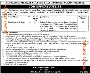 Medical College And Allied Hospital Job 2016
