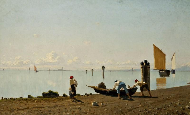 Guglielmo Ciardi - Veduta sulla laguna (c.1869)