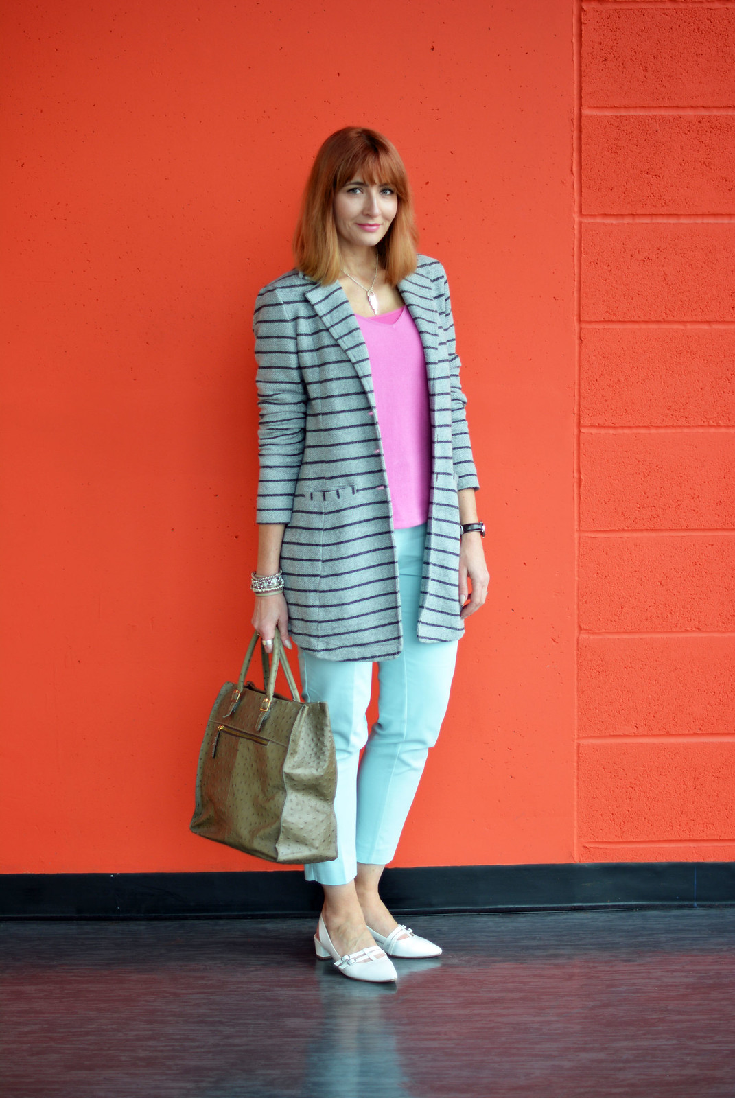 Spring Style: Pink, mint, white and grey stripes | Not Dressed As Lamb