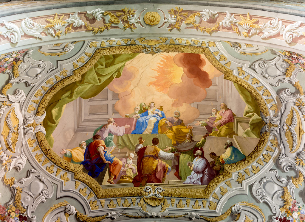 Ceiling fresco in the Herzogenburg Abbey Church (Lower Austria) by Daniel Gran The Miracle of Pentecost. Credit Uoaei1