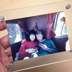 This photo has been on every desk at work since I graduated college in 1991 or 1992 (I can't remember which year it was). Anyway, it's the first photo of Yumiko and I together. We're having breakfast in my potato chip truck on the beach. Shortly after thi