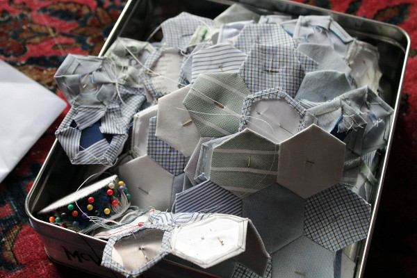 Paper pieced hexagons - Misericordia