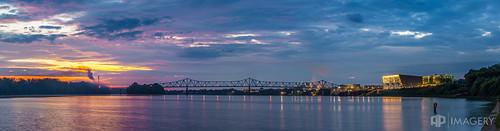 ohioriver sunrise waterfront pano riverfront bluebridge ky owensboro panorama kentucky englishpark downtown usa