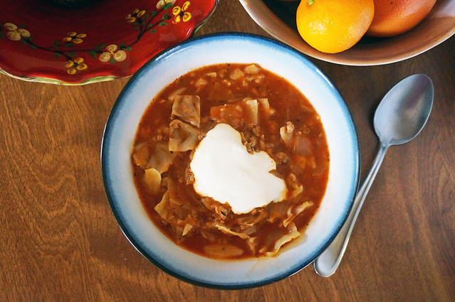 Stuffed cabbage soup, another overhead shot, but without the bread this time