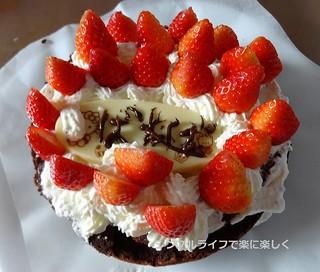 チョコレートケーキ、デコレーション完成