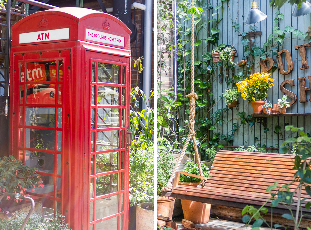 london post box and swing chairs in the grounds of alexandria