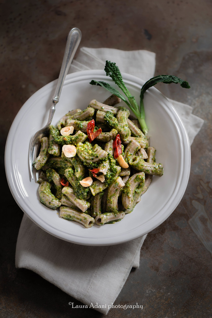 buckwheat maccheroni with black cabbage pesto