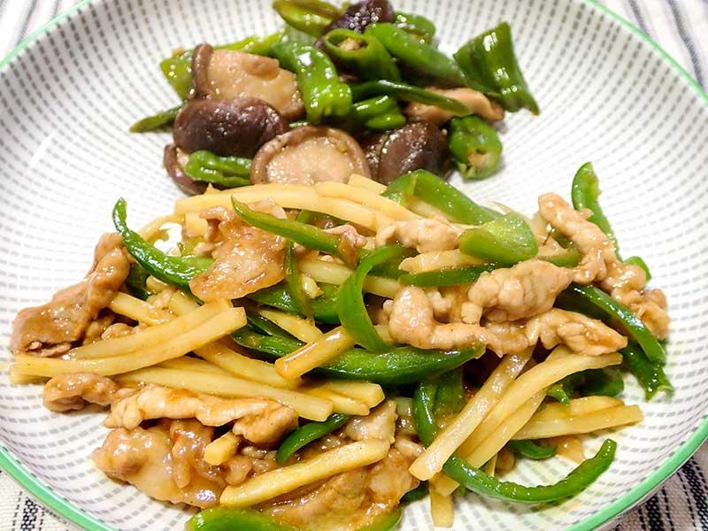 青椒肉絲と椎茸とシシトウの炒めもの