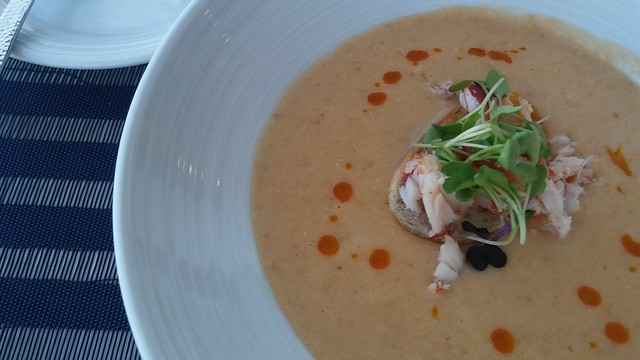 Latitudes Delray Sands Lobster Bisque with Smoked Paprika Oil, and fresh Lobster photo credit: southfloridafoodandwine.com