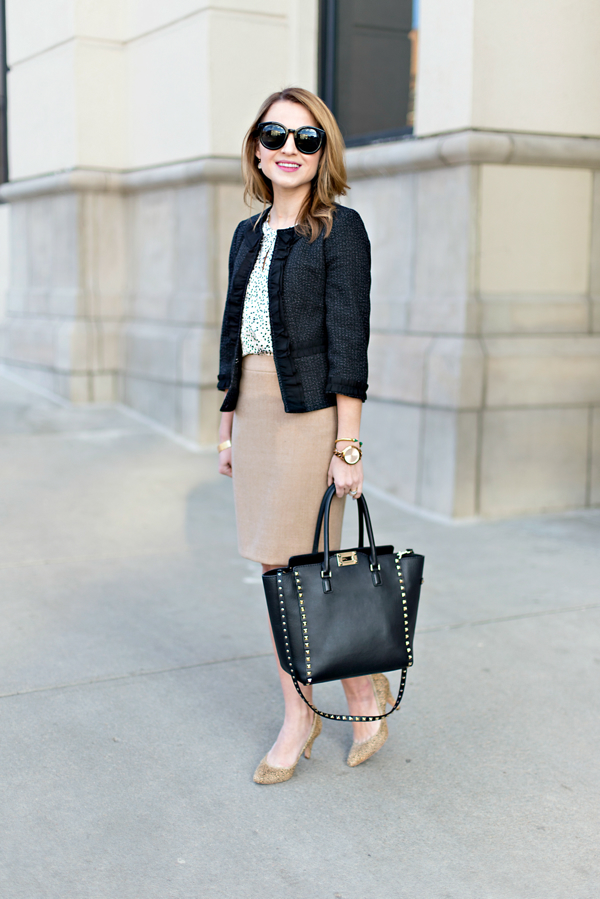 J Crew No 2 Pencil Skirt + Ann Taylor Tweed Jacket