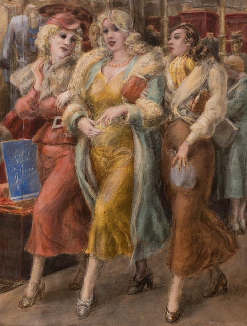 Reginald Marsh, Window Shopping, 14th Street, 1932, MIA