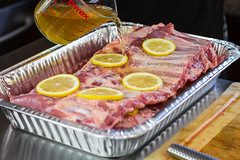 Pouring Apple Juice on Ribs