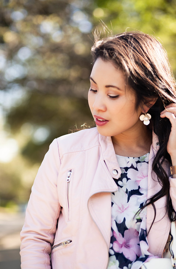cute & little blog | petite fashion | pink blush moto jacket, floral tiered blouse, kate spade flower earrings | spring outfit