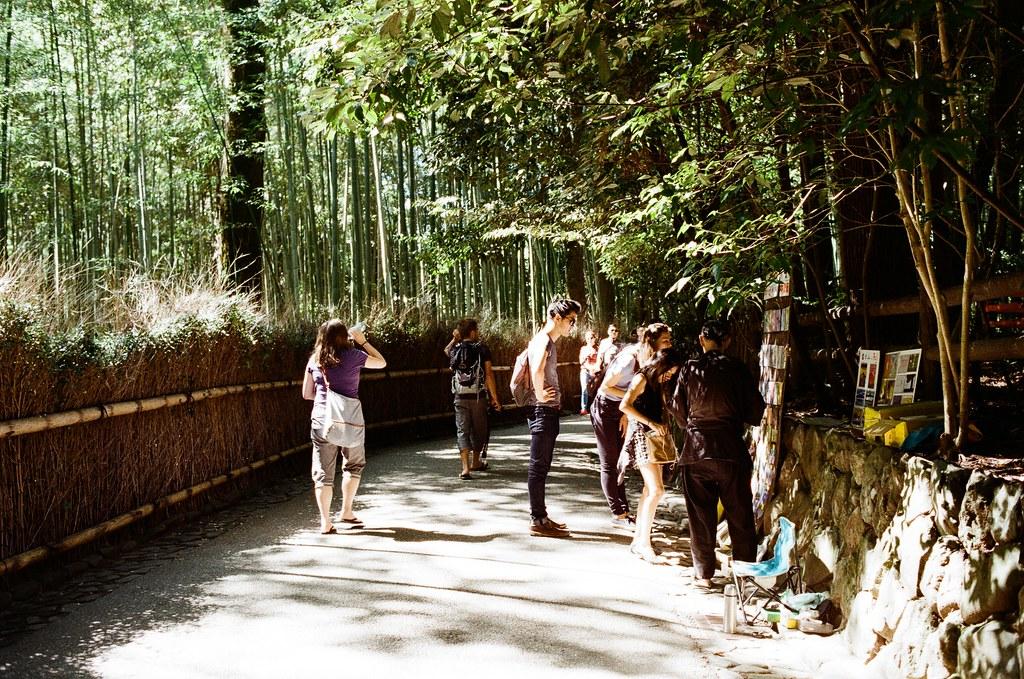 野宮神社 嵐山 Kyoto Japan / Kodak ColorPlus / Nikon FM2 2015/09/28 畫面中右邊有一個老伯伯在賣京都的明信片,而且明信片是他手工製作嵐山這裡的風景,很厲害。重點是他會說好多國語言,很強。  我也在這裡買了些明信片,我記得我有挑一張寄給妳,吧?(有點忘了 XD)  好像搭了快一個小時的公車到京都嵐山,公車有繞了一下路線,還好在啟程站上車,所以有座位坐。  看地圖上是寫要從野宮神社進入,在持續往後走就會到一大片的竹林,雖然走到野宮神社的路上就已經被竹林包圍了,但還是很期待很多人拍的竹林的場景會是如何!  Nikon FM2 Nikon AI AF Nikkor 35mm F/2D Kodak ColorPlus ISO200 0987-0032 Photo by Toomore
