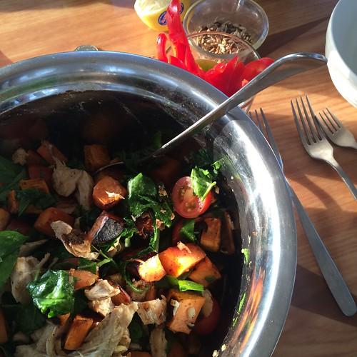 Roast sweet potato & BBQ chicken salad