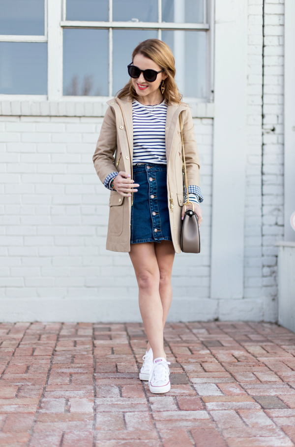 Button-Through Denim Skirt + Converse + Trench