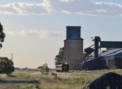 Running as train 8R02, heritage railmotors CPH24+CPH25+CPH12 pass through Yarrabandai, NSW enroute to Orange.