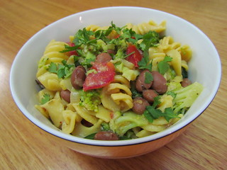 Tex-Mex Pasta Bowl with Pintos and Broccoli