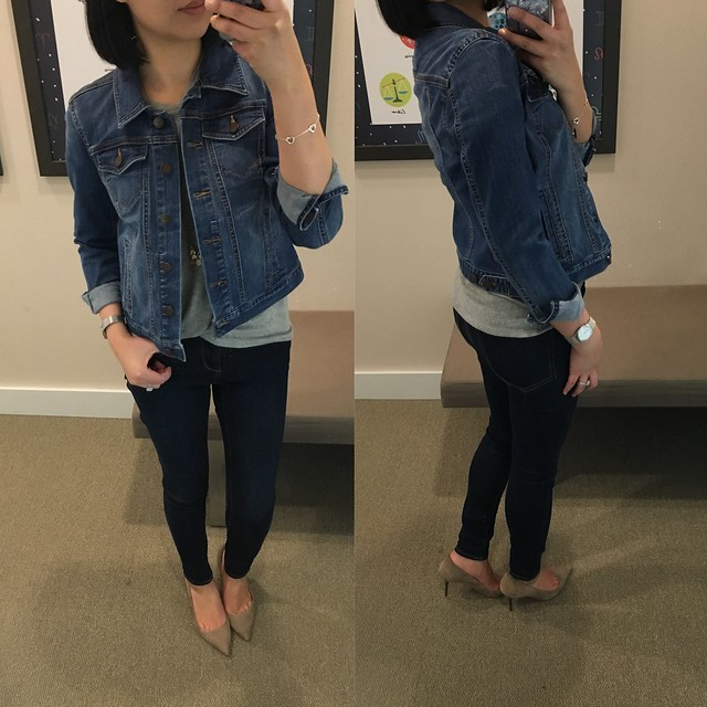 Petite Denim Jacket in Mid Vintage Wash, size XSP