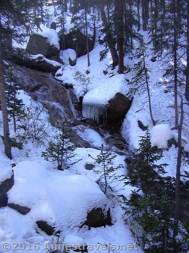 Snow around the stream near Horsethief Falls, Pike National Forest near Divide, Colorado