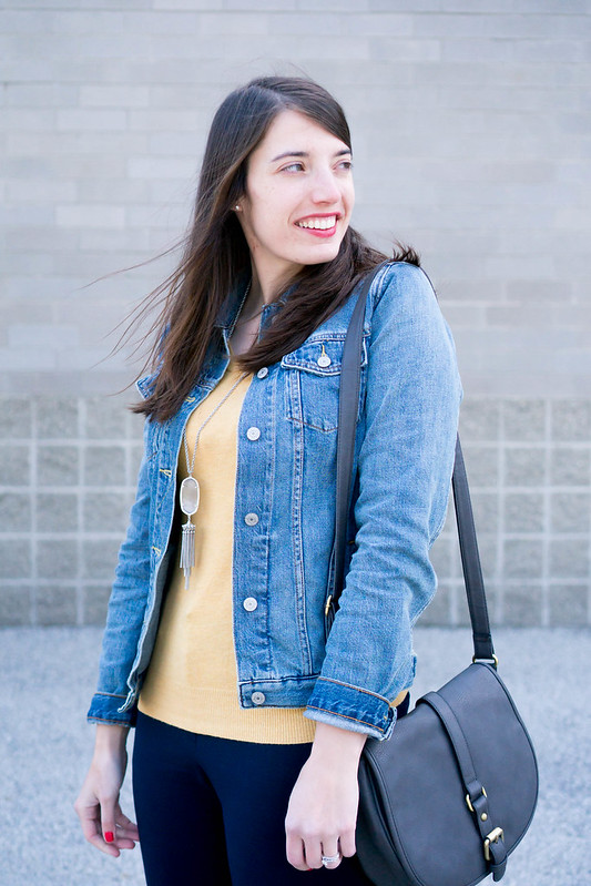 casual work pants + jean jacket + yellow sweater + gingham flats | Style On Target