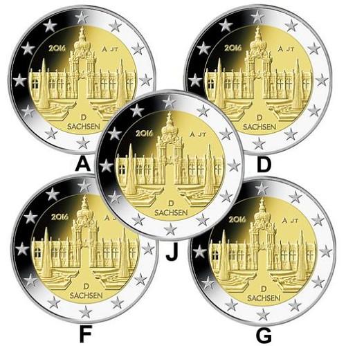 5x 2 Euro Nemecko 2016 A, D, F, G, J Sasko