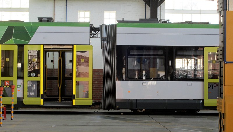 E-class tram being serviced, Preston tram depot